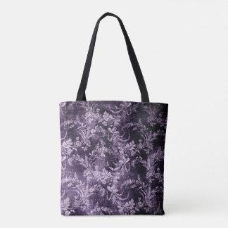 Bolsa Tote Teste padrão floral do vintage do Grunge no roxo