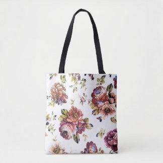 Bolsa Tote Teste padrão floral do vintage toda sobre -