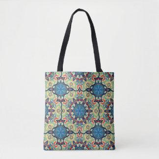 Bolsa Tote Teste padrão floral étnico abstrato colorido de da