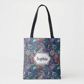 Bolsa Tote Teste padrão floral multicolorido de néon de