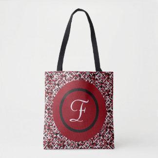 Bolsa Tote Teste padrão floral preto & branco vermelho