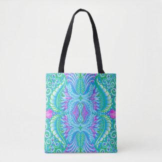 Bolsa Tote Teste padrão floral tropical retro
