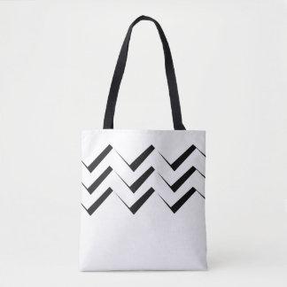 Bolsa Tote Teste padrão geométrico abstrato - preto e branco.