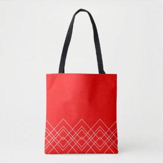 Bolsa Tote Teste padrão geométrico abstrato - vermelho e