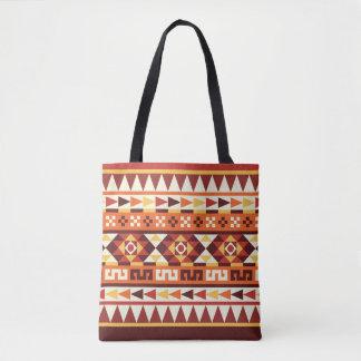 Bolsa Tote Teste padrão geométrico asteca das cores outonais