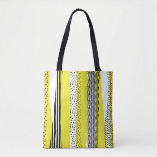 Bolsa Tote Teste padrão geométrico da mistura amarela & preta