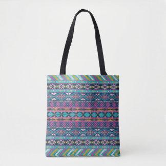 Bolsa Tote Teste padrão geométrico tribal colorido