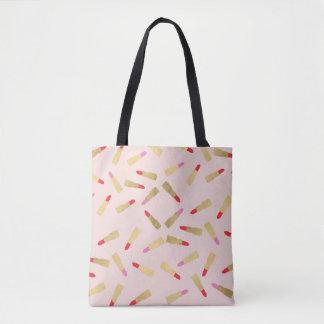 Bolsa Tote Teste padrão Glam Luxe do batom no rosa