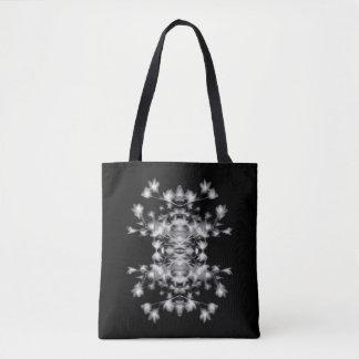Bolsa Tote Teste padrão gráfico floral abstrato preto e