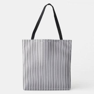 Bolsa Tote Teste padrão listrado preto e branco