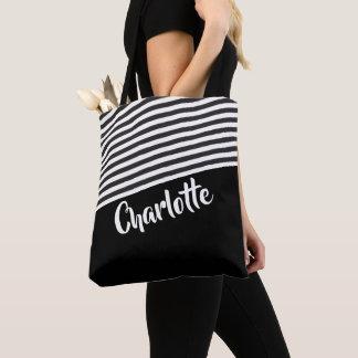 Bolsa Tote Teste padrão listrado preto e branco personalizado