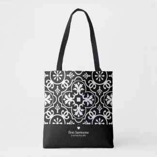 Bolsa Tote Teste padrão moderno do azulejo com monograma de