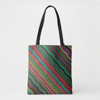 Bolsa Tote Teste padrão ondulado colorido bonito da listra