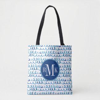 Bolsa Tote Teste padrão ondulado da aguarela azul pintado mão