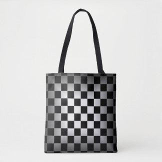 Bolsa Tote Teste padrão preto & cinzento do conselho de