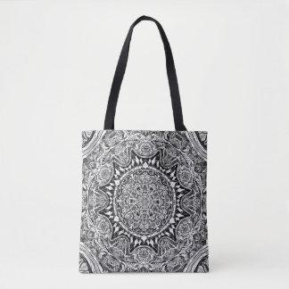 Bolsa Tote Teste padrão preto e branco da mandala