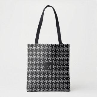 Bolsa Tote Teste padrão preto e branco de Houndstooth do