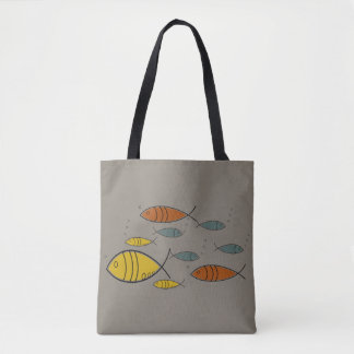 Bolsa Tote Teste padrão retro moderno da natação dos peixes
