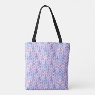 Bolsa Tote Teste padrão roxo do Pastel da sereia do arco-íris
