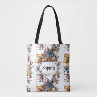 Bolsa Tote Teste padrão tirado realístico do buquê floral