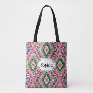 Bolsa Tote Teste padrão tribal abstrato colorido brilhante de