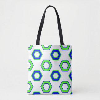 Bolsa Tote Teste padrão verde & azul do hexágono do vetor