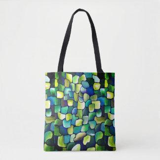 Bolsa Tote Teste padrão verde contemporâneo