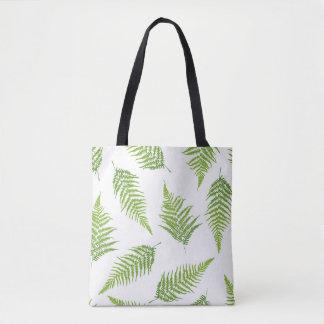 Bolsa Tote Teste padrão verde da silhueta da folha da