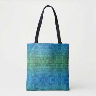 Bolsa Tote Teste padrão verde e azul da textura do inclinação