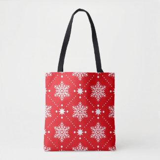 Bolsa Tote Teste padrão vermelho e branco à moda do Natal dos