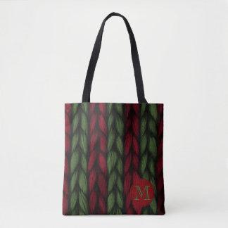 Bolsa Tote Teste padrão vermelho e verde do monograma rústico