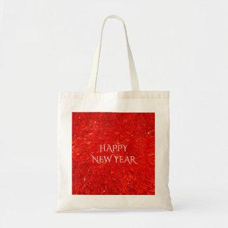 Bolsa Tote Texto brilhante festivo do feliz ano novo da cor