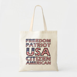 Bolsa Tote Texto da bandeira americana do patriota da