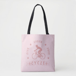 Bolsa Tote Texto da Vida Riso Amor Ciclo da senhora (rosa)