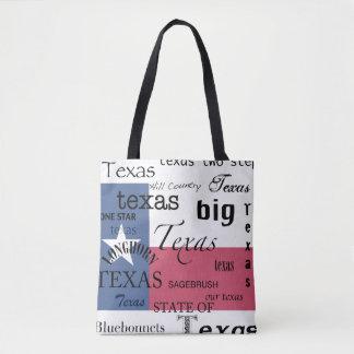 Bolsa Tote Texto de Texas Design-com a bandeira de Texas