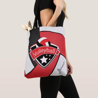 Bolsa Tote Texto do voleibol | DIY do esporte - vermelho