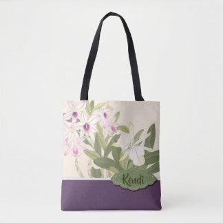 Bolsa Tote Texto japonês do costume da orquídea do impressão