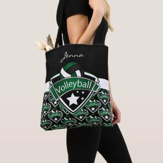 Bolsa Tote Texto verde escuro do voleibol | DIY do esporte