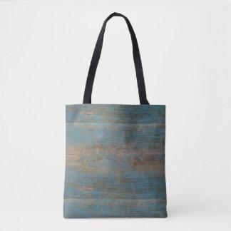 Bolsa Tote Textura azul da madeira da praia