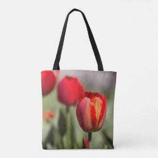 Bolsa Tote Textura dupla da tulipa vermelha