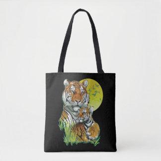 Bolsa Tote Tigre com Cub toda sobre - imprima a sacola