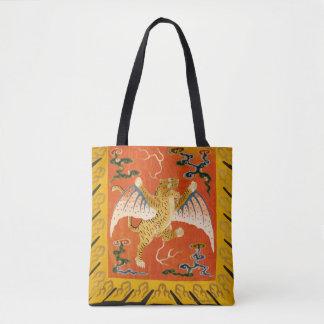 Bolsa Tote Tigre, laranja e amarelo voados chinês