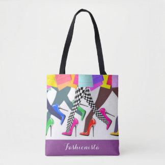 Bolsa Tote Tipografia colorida dos saltos altos e dos pés