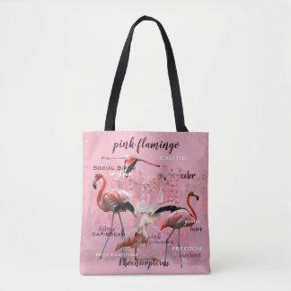 Bolsa Tote Tipografia cor-de-rosa | do flamingo personalizado