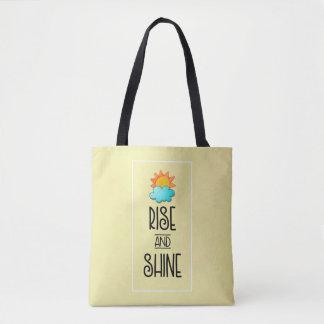 Bolsa Tote Tipografia da elevação e do brilho com Sun e nuvem