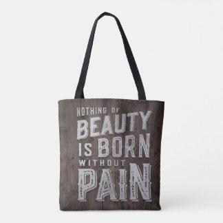 Bolsa Tote Tipografia de madeira do nascer da beleza das