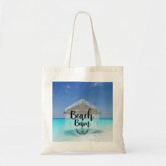 Bolsa Tote Tipografia do vagabundo da praia - guarda-chuva na