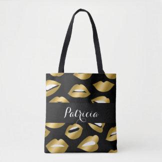 Bolsa Tote Tipografia dos lábios do ouro de Expressional