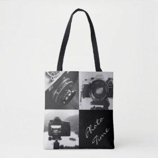 Bolsa Tote Tipografia preta & branca da fotografia das