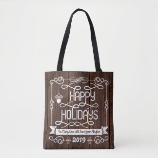 Bolsa Tote Tipografia rústica do Natal da madeira boas festas